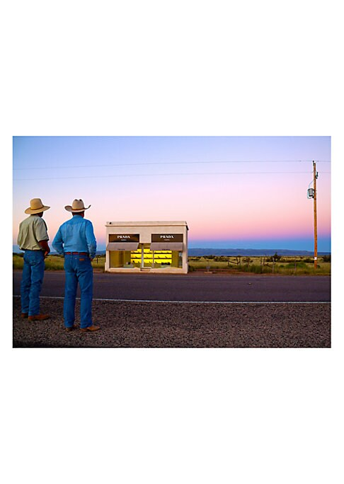 Image of From The Prada Marfa Collection. Marfa, Texas is known for the 'New York chic' meets 'cowboy cool' art scene that has been noted globally. In 2005, the artists Elmgreen and Dragset came to Marfa to create their hyper-commercialism vision, a free standing