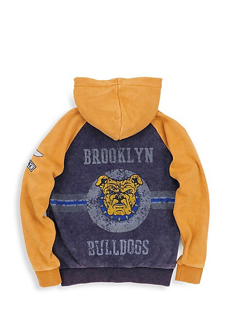 Image of Colorblocked soft hoodie with weathered back graphic. Attached hood. Long sleeves. Zip front. Split kangaroo pocket. Banded cuffs and hem. Cotton/polyester. Machine wash. Imported.