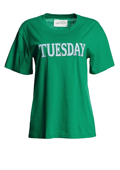 """Image of Cotton crewneck tee emblazoned with Tuesday across the front. Crewneck. Short sleeves. Cotton. Dry clean. Made in Italy. SIZE & FIT. About 26"""" from shoulder to hem. Model shown is 5'10"""" (177cm) wearing US size Small."""