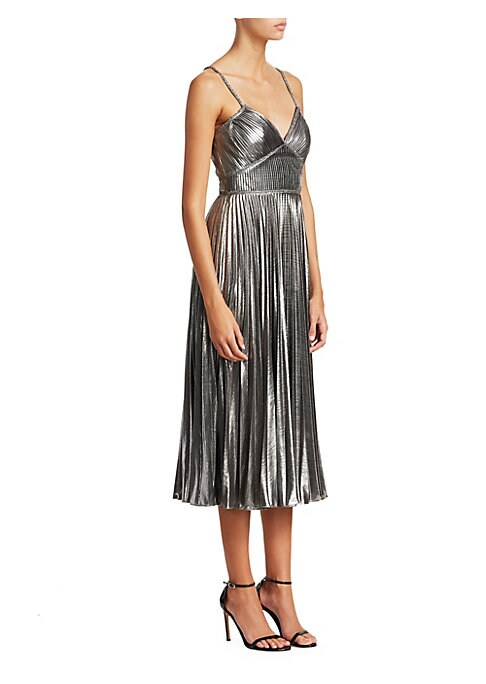 "Image of Allover pleating shapes shimmery midi dress.V-neck. Adjustable spaghetti straps. Concealed back zip. Seamed bodice and waist. Circle skirt. Polyester/spandex. Dry clean. Imported. SIZE & FIT.A-line skirt. About 50"" from shoulder to hem. Model shown is 5'1"