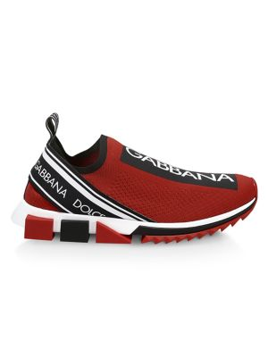 Dolce & Gabbana Sorrento Bassa Maglina Tech Knit Sneakers In Red Black