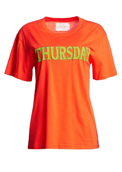 """Image of Cotton crewneck tee emblazoned with Tuesday across the front. Crewneck. Short sleeves. Cotton. Dry clean. Made in Italy. SIZE & FIT. About 23"""" from shoulder to hem. Model shown is 5'10"""" (177cm) wearing US size Small."""