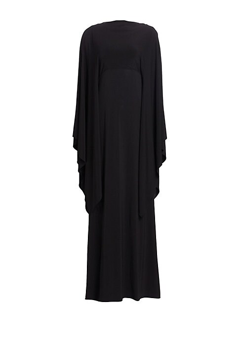 Image of Bold bell sleeves define this relaxed gown while a low scooped back reveals a hint of skin. Light-as-air tiers of stretch viscose flutter about the body lending the piece a sense of drama and movement with every step you take. Bateau neckline. Long bell s