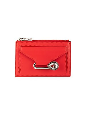 "Image of A crystal-embellished pin anchors this smart leather pouch. Zip top closure Leather Made in Italy SIZE 4.5""W x 4""H. Handbags - Alexander Mcqueen. Alexander McQueen. Color: Love Red."
