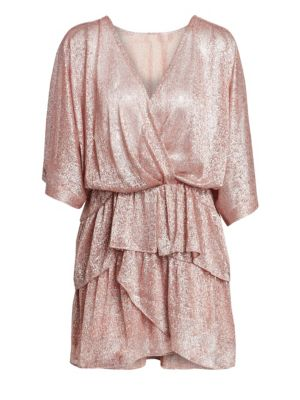 IRO Metallic Tiered Ruffle V-Neck Dress