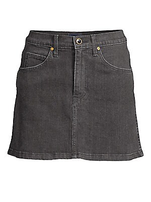 Image of From the Saks It List: The Mini Skirt Cut from Japanese denim with a hint of stretch, this jean skirt's goldtone hardware punctuates its luxe appeal. The slight A-line silhouette flatters, while allowing you to move. Five-pocket style Zip fly Cotton/polyu