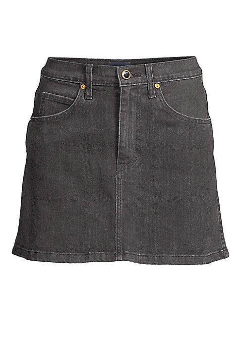 Image of From the Saks It List: The Mini Skirt. Cut from Japanese denim with a hint of stretch, this jean skirt's goldtone hardware punctuates its luxe appeal. The slight A-line silhouette flatters, while allowing you to move. Five-pocket style. Zip fly. Cotton/po