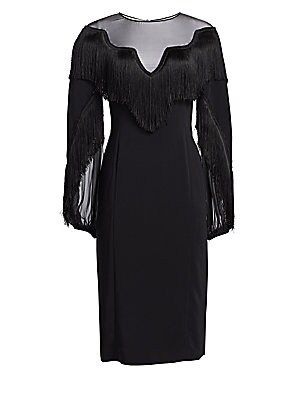 """Image of A glamorous evening dress with dramatic draped sleeves and a fringe-trimmed illusion yoke. Roundneck Long sleeves Illusion yoke Back closure with keyhole Viscose/elastane Dry clean Made in Italy SIZE & FIT About 40"""" from shoulder to hem Model shown is 5'1"""