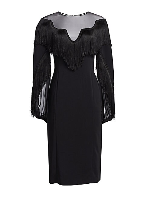 """Image of A glamorous evening dress with dramatic draped sleeves and a fringe-trimmed illusion yoke. Roundneck. Long sleeves. Illusion yoke. Back closure with keyhole. Viscose/elastane. Dry clean. Made in Italy. SIZE & FIT. About 40"""" from shoulder to hem. Model sho"""