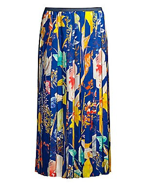 """Image of Reaching to a midi length, this skirt is printed with vibrant florals. Its plissé-twill fabrication adds movement to the piece. Banded waist Pull-on style Pleated finish Partially lined Polyester Dry clean Made in Italy SIZE & FIT About 33.5"""" long Model s"""