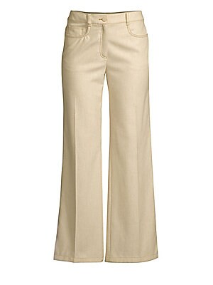 Image of Crafted from a soft blend of wool and cashmere, these minimalist five-pocket pants are a luxury wardrobe basic. Their sartorial seamed construction falls to an on-trend wide leg for a streamlined silhouette versatile enough for any look. Belt loops Zip fl