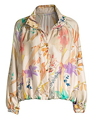 Image of A bomber jacket adorned with soft pastel painterly florals in a lush watercolor finish. Cut in a slouchy fit, this silk topper blends a sportswear-inspired feel with a luxe feminine fabrication. Stand collar Long raglan sleeves Zip front with concealed sn