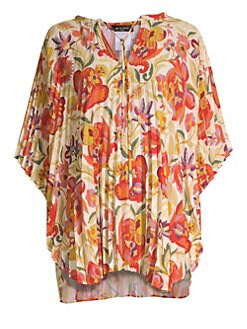 33a477aa3a349 QUICK VIEW. Etro. Floral Pleated Poncho Top