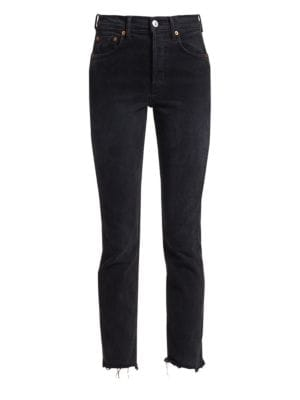 High Rise Skinny Raw Cropped Jeans by Re/Done