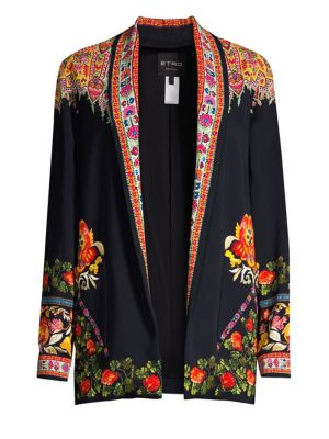 Floral-Print Twill-Trimmed Cady Jacket in Black