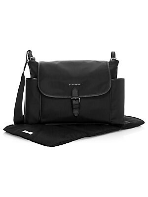 "Image of A baby-changing shoulder bag in durable nylon and leather, lined in check, and complete with multiple pockets and a fold-out changing mat. Polyamide/Acrylic/Leather Trim Wipe clean Made in Italy SPECIFICATIONS 11.4"" x 11.8"" x 6.3"". Children's Wear - Burbe"