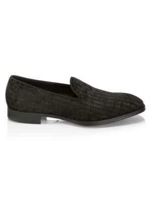 Giorgio Armani Velvets Woven Texture Leather Loafers