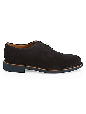 Image of Plush suede loafers make for dapper footwear. Leather upper Almond toe Lace-up vamp Leather lining Rubber sole Made in Italy. Men's Shoes - Mens Classic Footwear. Giorgio Armani. Color: Blue. Size: 9 UK (10 US).