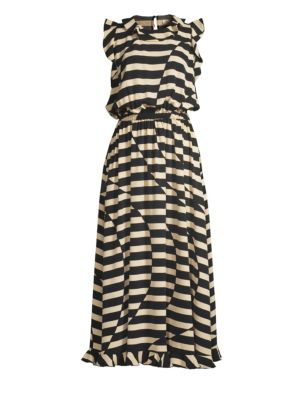 Stine Goya Liberty Optical Stripe Ruffled Dress