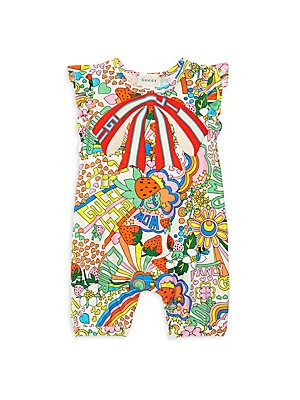 Image of Baby Gucci rainbow pop-print cotton romper Sleeveless Snaps at the inseam Ivory stretch cotton with Gucci rainbow pop print Gucci stripe trompe l'oeil bow Cotton/elastane Made in Italy. Children's Wear - Gucci Kids. Gucci. Size: 6-9 Months.