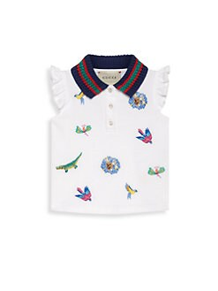 996a069f957 Gucci. Baby Girl s Sleeveless Piqué Stretch Cotton Embroidered Polo Shirt