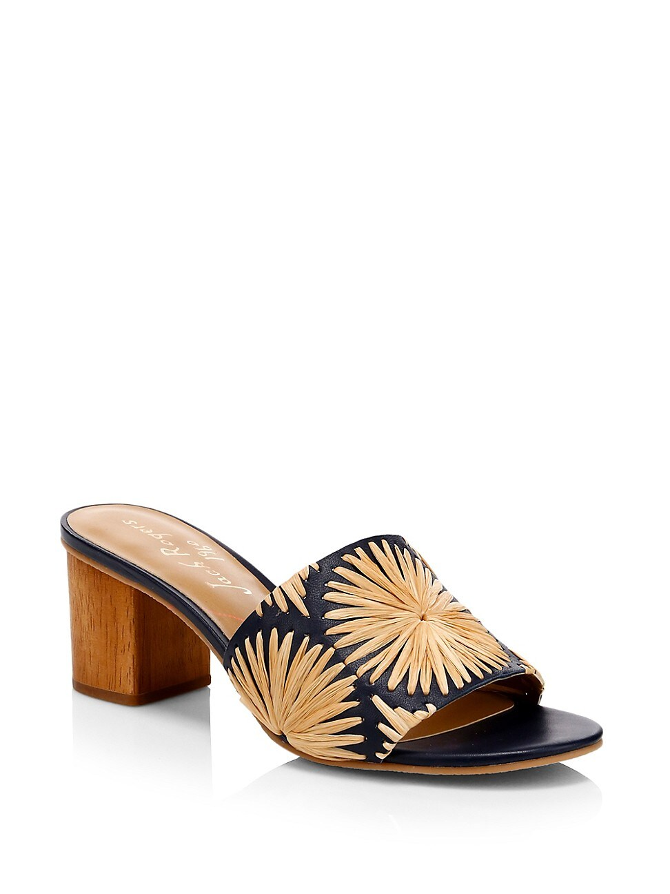 Chic raffia mules with a pretty floral design. Raffia/straw upper Slip-on style Open toe Leather sole Imported SIZE & FIT Heel, 2\\\