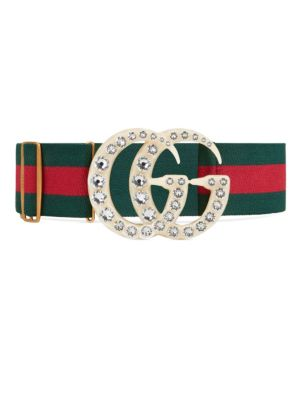 Striped Web Belt With Gg Buckle in Green Red