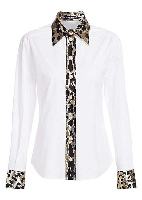 Image of Updated with the signature Italian flair of the brand, this classic poplin button-down shirt flaunts punchy metallic leopard-print trim. Dainty floral buttons further contrast the piece for a modern marriage of femininity that is as unique as you. Point c