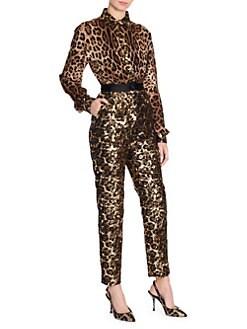 ccc6dc4f52 Dolce   Gabbana. Sequin Detail Leopard Blouse