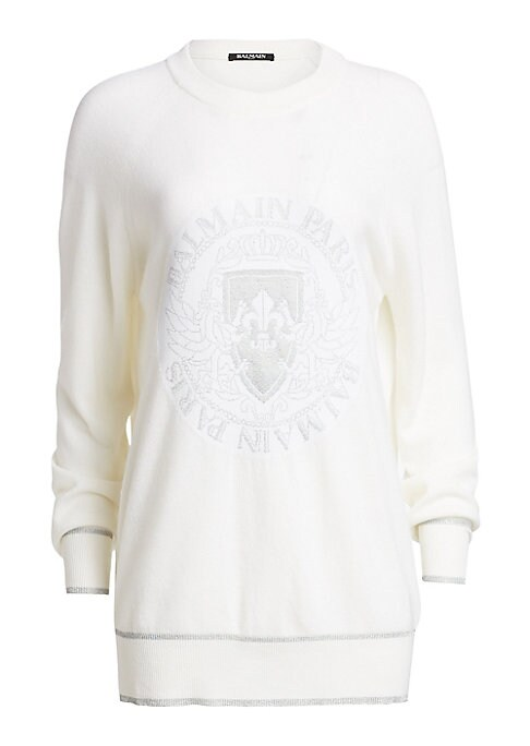 Image of A casual nod to the luxury sportswear trend, this logo coin pullover boasts ribbed trim in a tie-dye finish for a chic off-duty look. Roundneck. Long sleeves. Ribbed trim. Pullover style. Wool/cashmere/polypropylene/viscose/.Dry clean. Made in Italy. SIZE