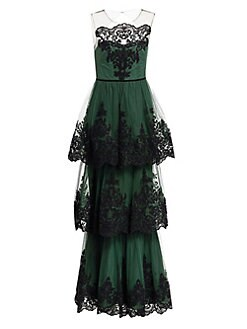 829e5c524b QUICK VIEW. Marchesa Notte. Embroidered Tiered Lace Gown