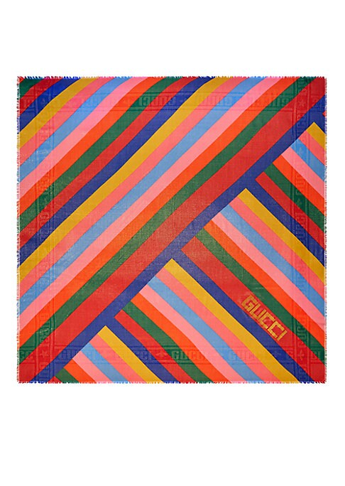 """Image of Multicolor stripes. Gucci print. Fringe trim.55"""" W x 55"""" L.Wool/polyurethane/polyester. Dry clean. Made in Italy."""