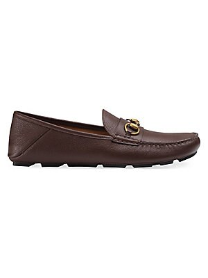 10dacf9c65e Gucci - Leather Loafer With GG Web - saks.com