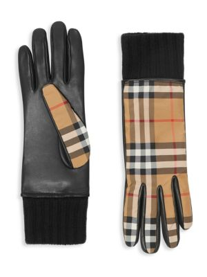 Leather Palm Check Gloves in Antique Yellow