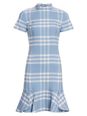 Short-Sleeve Wool-Blend Plaid Shift Dress W/ Flounce in Blue