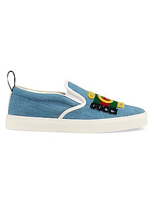 "Image of Denim slip-on sneakers with Gucci patch Blue denim with white leather trim Round toe Slip-on style Corduroy Gucci vintage logo patch Gucci Team loop Rubber sole Made in Italy SIZE Platform height, 0.25"" (6mm). Men's Shoes - Gucci Shoes. Gucci. Color: St B"