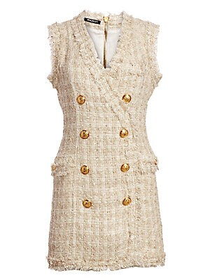 c2b522f1 Balmain - Fringed Tweed Double-Breasted Mini Dress - saks.com