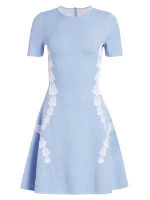 Short-Sleeve Tulip-Embroidered Fit-And-Flare Dress in Wedgewood