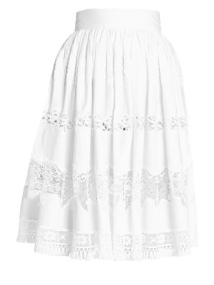 Tiered Lace Poplin Skirt by Dolce & Gabbana