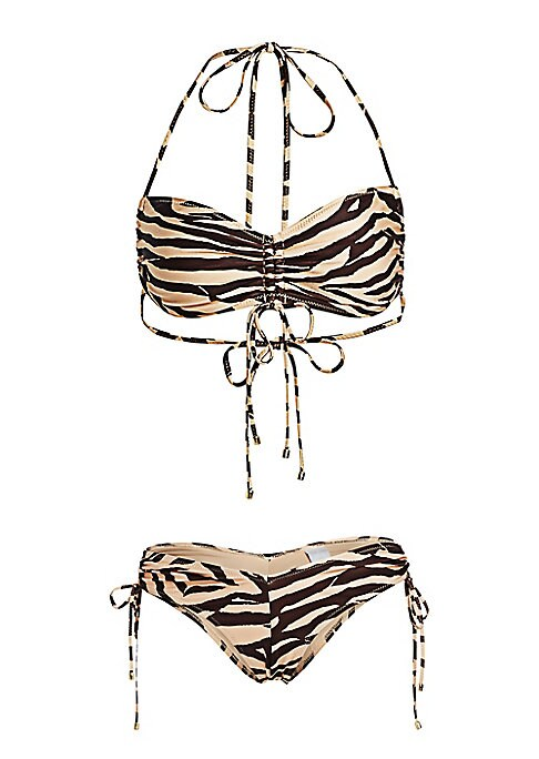 Image of Boasting an allover zebra print, this bikini is enhanced with ruched detailing. Polyamide/elastane. Machine wash. Imported. TOP. Halterneck. Self-tie in back. Lined. BOTTOM. Drawstring at side waist. Pull-on style. Lined.
