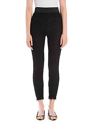 Image of A lace finish lends these high-waisted ankle leggings a romantic air. Lining throughout enhances the versatility of the pant. Elasticized waistband Concealed side zip closure Raw hems Lined Cotton/nylon/rayon Dry clean Made in Italy SIZE & FIT Rise, about