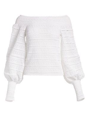 Oscar De La Renta Knits Off-The-Shoulder Crochet Balloon Sleeve Top