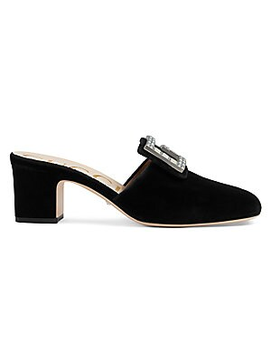 """Image of From the Saks It List: The Mod Shoe Block heel, 2"""" (51mm) Velvet upper Round toe Slip-on style Square G with crystals Leather sole Made in Italy. Women's Shoes - Gucci Womens Shoes. Gucci. Color: Nero. Size: 39 (9)."""