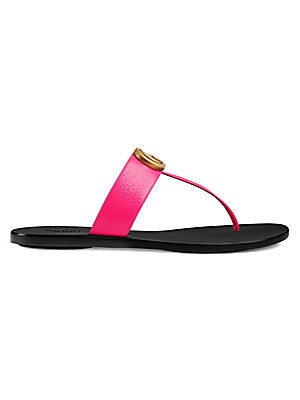 d3832e497ec0 Gucci - Marmont Leather Thong Sandals With Double G