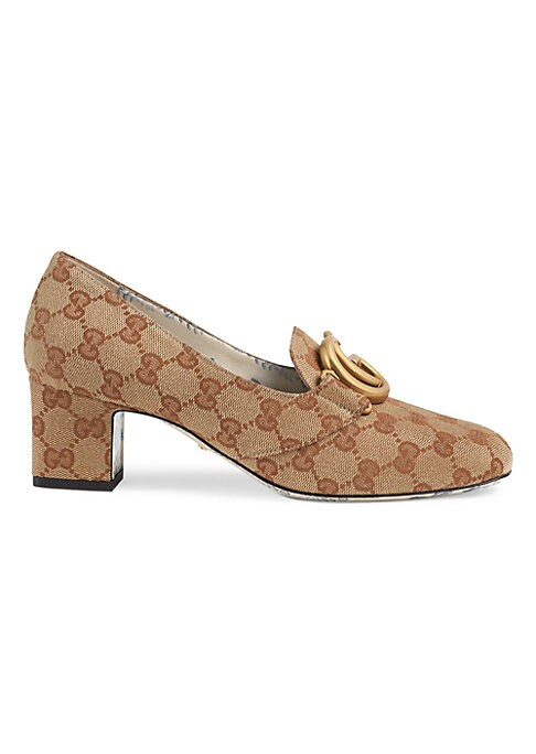 """Image of From the Saks It List: The Mod Shoe. Beige and brick red Original GG canvas. Square toe. Slip-on style. Leather sole. Made in Italy. SIZE. Self-covered block heel, 2"""" (51mm)."""