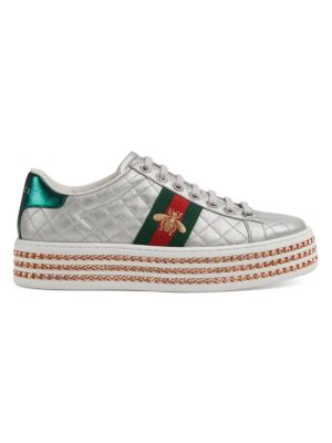 New Ace Platform Leather Sneakers by Gucci