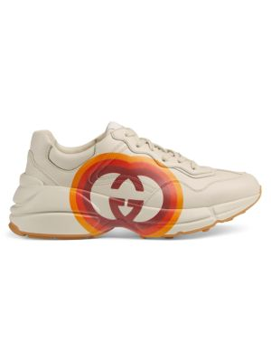 Rhyton Gucci Heart Leather Sneakers in Mystic White