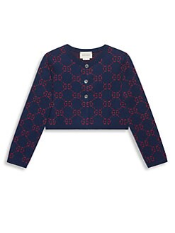 bc67c9fe729 Gucci. Little Girl s   Girl s GG Jacquard Knit Cardigan
