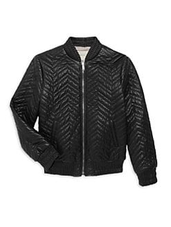 a6c367fb5e1 Gucci. Girl s Leather Bomber Jacket