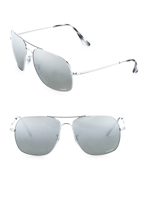 Image of On-trend gradient sunglasses in elegant square shape.61mm lens width; 15mm bridge width; 140mm temple length.100% UV protection. Gradient lenses. Adjustable nose pads. Metal. Made in Italy.
